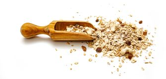 Organic Cereals on white Backgrund. With wooden retro spoon royalty free stock photography