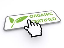 Organic certified button with cursor hand Royalty Free Stock Image