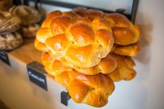 Organic challah bread fresh bake on shelf. Close up Stock Photography