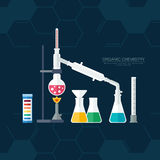 Organic chemistry. Synthesis of substances. Border of benzene rings. Flat design.  Stock Photo