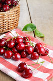 Organic Cherries on the checkered napkin Royalty Free Stock Photography