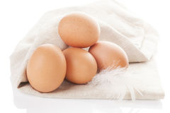 Organic chicken eggs. Organic chicken eggs on white background Royalty Free Stock Photos