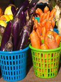 Organic Chinese eggplant and carrots Stock Photography