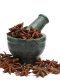 Organic Chinese Star Anise ( Illicium verum) on marble pestle Stock Photos