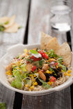 Organic Chipotle Bowl on weathered wood Royalty Free Stock Photos