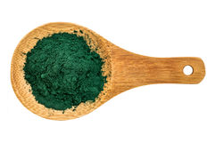 Organic chlorella powder Royalty Free Stock Photos