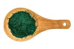 Organic chlorella powder Royalty Free Stock Photos