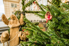 Organic Christmas decoration and Nativity scene made of straw, Prague, Czech Republic Royalty Free Stock Images