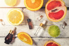 Organic citrus fruit essential oils and cosmetics. Top view royalty free stock images