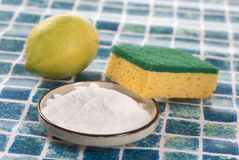 Organic cleaners - White vinegar, lemon and sodium bicarbonate Stock Photo