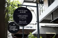 Organic coffee advertisement board poster Stock Images