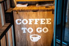 Organic coffee signage at a cafe. Coffee to go interior concept stock photos