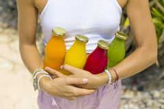 Organic cold-pressed raw vegetable juice Stock Images