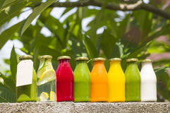Organic cold-pressed raw vegetable juices. In glass bottles Stock Photography