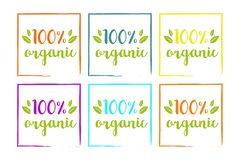 100% organic colorful set for web and print. Hand drawn typography on colorful leaves. stock illustration