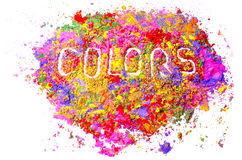 Organic colors. Colors word written on mixed organic colors Royalty Free Stock Images