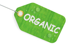 Organic concept, green tag. 3D rendering. On white background Stock Images