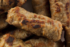 Organic Cooked Maple Breakfast Sausage Royalty Free Stock Photos