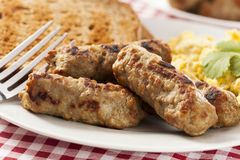 Organic Cooked Maple Breakfast Sausage Stock Photo
