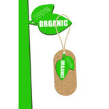 100% organic cork natural tag ,sale  label . Vector illustration Royalty Free Stock Images