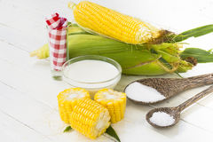 Organic corn from the fields and materials for dessert Stock Photography