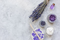 Organic cosmetic with lavender oil on stone background top view mock up Royalty Free Stock Photos