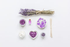 Organic cosmetic with lavender oil on white background top view mock up Stock Images
