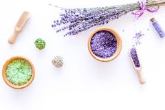 Cosmetic set with lavender herbs and sea salt in bottle on white table background flat lay mockup Royalty Free Stock Photos