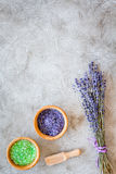 Cosmetic set with lavender herbs and sea salt in bowl on stone table background flat lay mockup Royalty Free Stock Photo