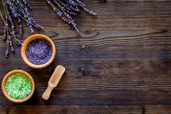 Cosmetic set with lavender herbs and sea salt in bowl on wooden table background flat lay mockup Royalty Free Stock Photos
