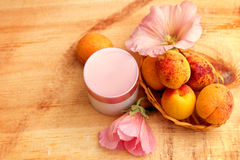 Organic cosmetics based on fruit and flower extracts Royalty Free Stock Photos