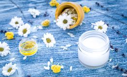 Organic cosmetics with camomile on blue background Royalty Free Stock Photos