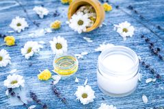 Organic cosmetics with camomile on blue background Royalty Free Stock Image
