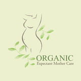 Organic Cosmetics Design element with contoured pregnant women and newborn babies Royalty Free Stock Photography