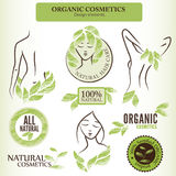 Organic Cosmetics Design elements with contoured shapes and hand Royalty Free Stock Photography