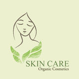 Organic Cosmetics Design elements with contoured woman's face an Royalty Free Stock Images