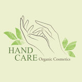 Organic Cosmetics Design elements with contoured woman's hand Royalty Free Stock Images