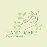 Organic Cosmetics Design elements with contoured womans hand Stock Photos