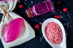Organic cosmetics with extracts of berries dark background top v stock photos