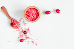 Organic cosmetics with extracts of berries white background top view Stock Photography