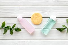 Facial tonic, lotion and sponge for face care and plant on white wooden background top view mock up royalty free stock photos