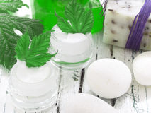 Organic cosmetics, facial cream Stock Photos