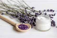 Organic cosmetics with lavender on wooden background Royalty Free Stock Photography