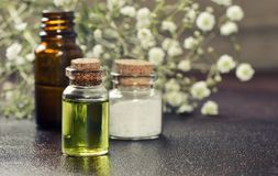 Organic cosmetics set. Organic essential oils or other cosmetics in bottles royalty free stock photos