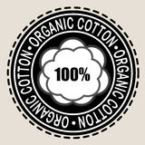 Organic Cotton 100% Seal. Organic Seal 100% in Black & White Royalty Free Stock Photo