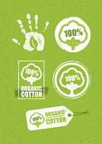 Organic Cotton Creative Concept On Grunge Rust Background. Eco Green Set Of Vector Icons. Organic Cotton Creative Concept On Grunge Rust Background. Eco Green Stock Image