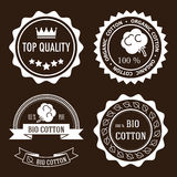 Organic cotton labels. Set of five white flat organic cotton and quality labels stock illustration