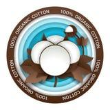 Organic cotton round vector paper cut emblem. Organic cotton round paper cut emblem. Vector illustration in paper art style. Organic cotton production logo vector illustration