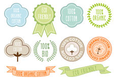 Organic cotton signs, vector set Stock Image