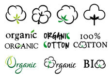 Organic cotton, vector set Stock Images